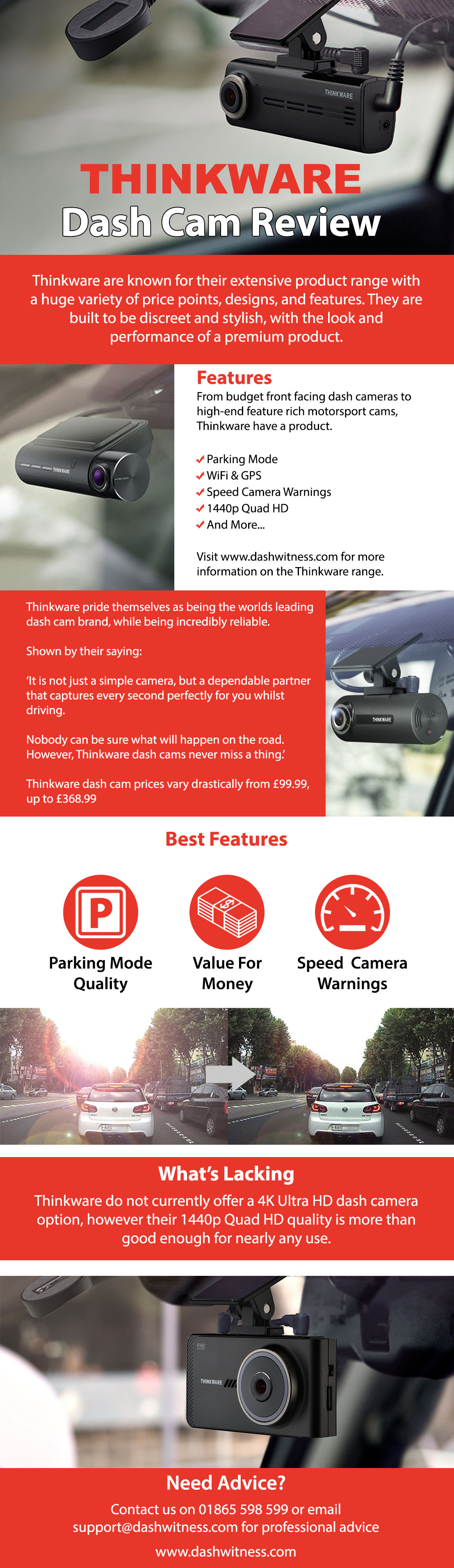 Thinkware dash cam review infographic