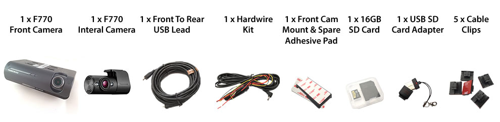 Thinkware F770-2Ch IR Box Contents