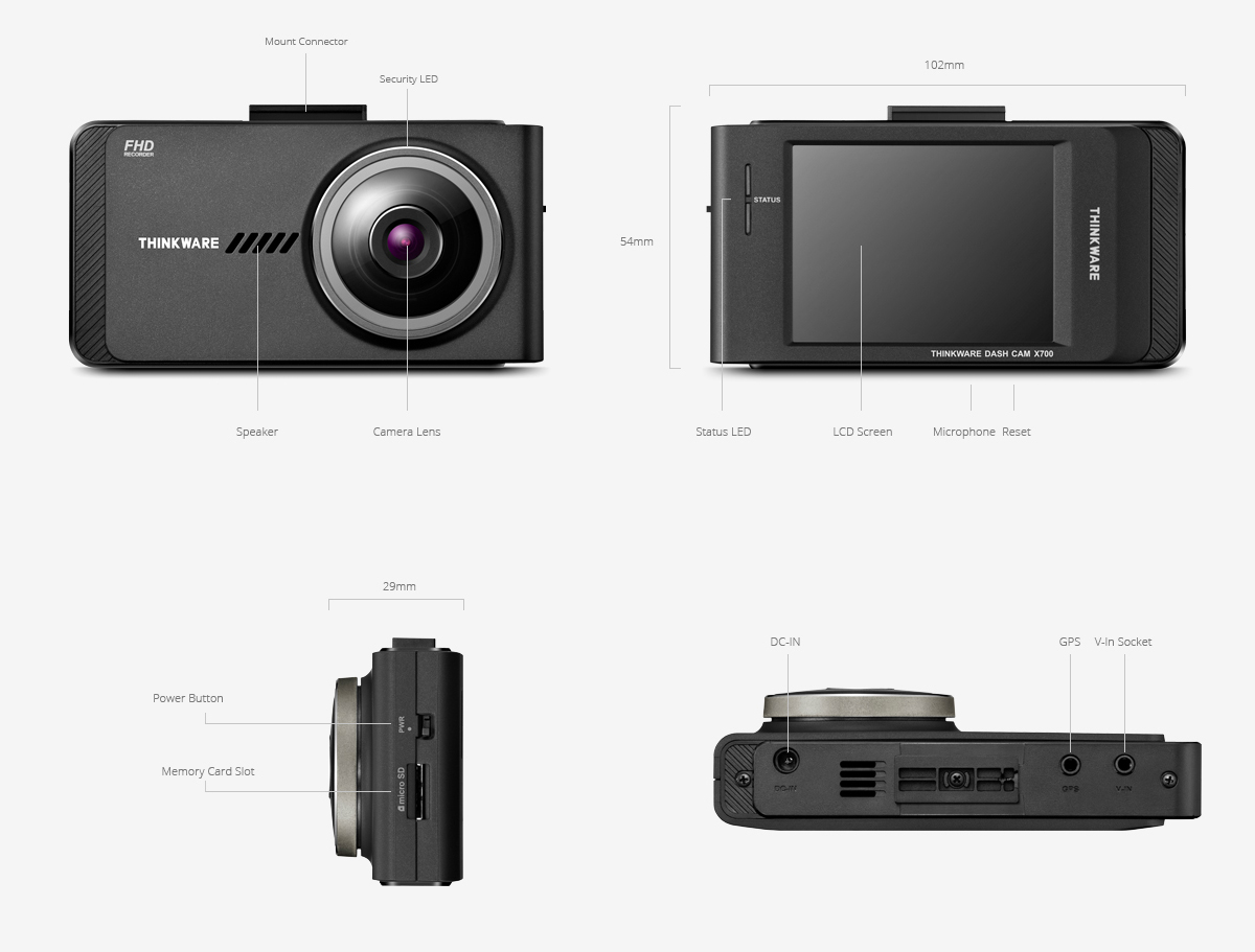 Thinkware X700 Front and rear dash cam specification