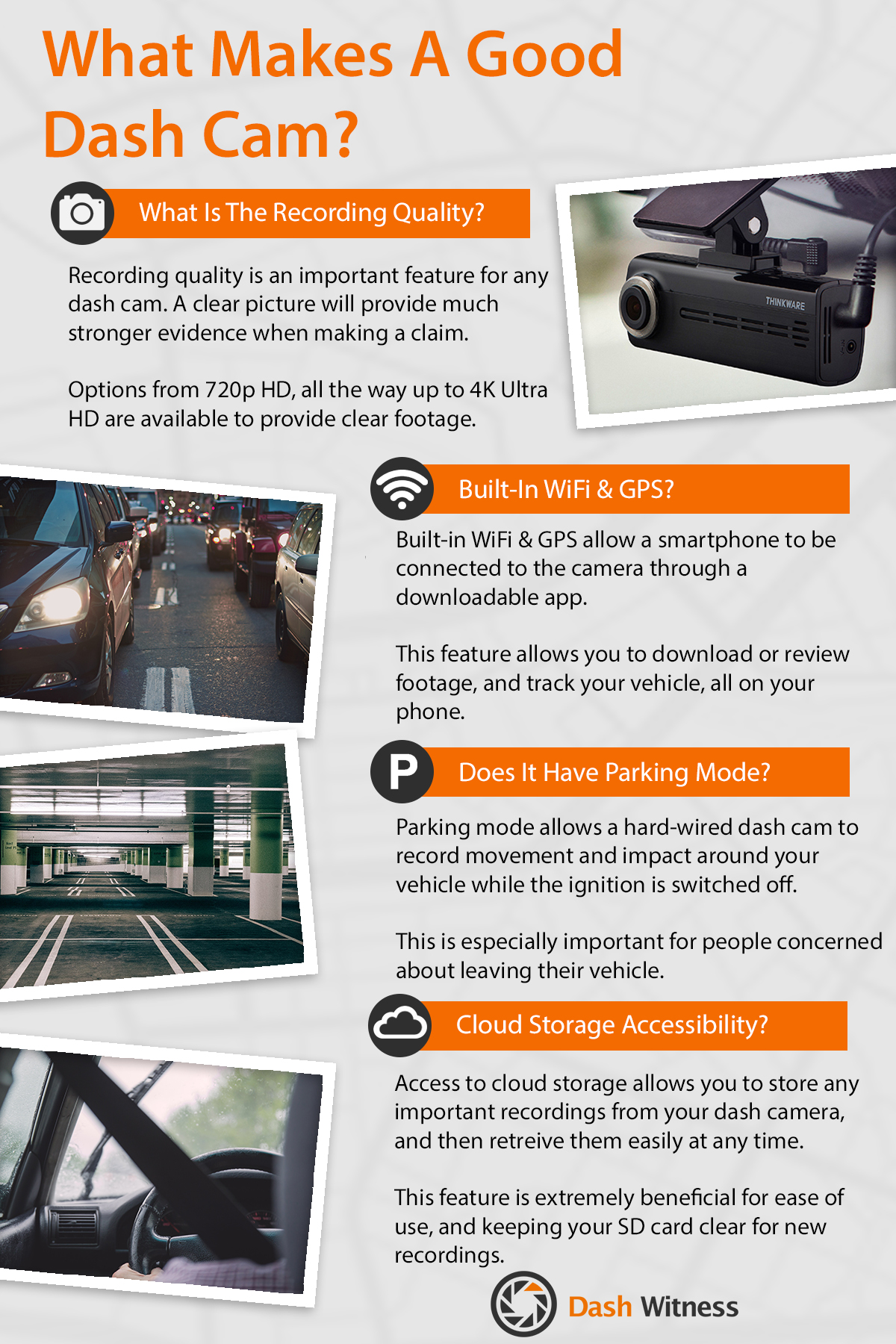 What makes a dash cam good infographic